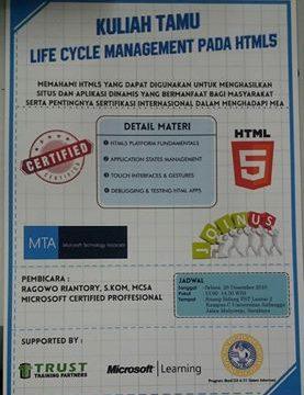 Kuliah Tamu Life Cycle Management Pada HTML 5