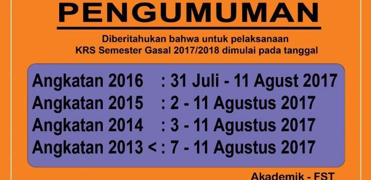 Jadwal KRS Gasal 2017-2018