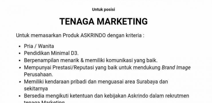 Lowongan Marketing PT. Askrindo