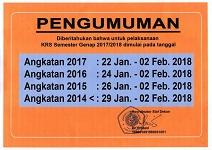 Jadwal KRS Semester Genap Tahun Ajaran 2017-2018